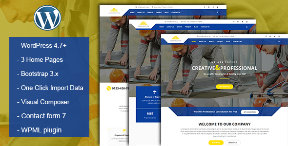 Download Nulled Construction & Building Business WordPress Theme ...